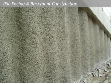 Shotcrete Concete Pile Facing Piled Wall Basement